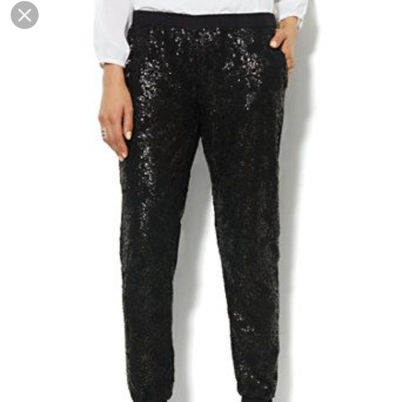 90s Deadstock Black Sequin Trousers ML Sequin Jogger Style Pants